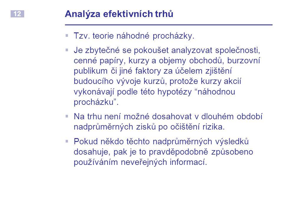 12 Analýza efektivních trhů  Tzv. teorie náhodné procházky.