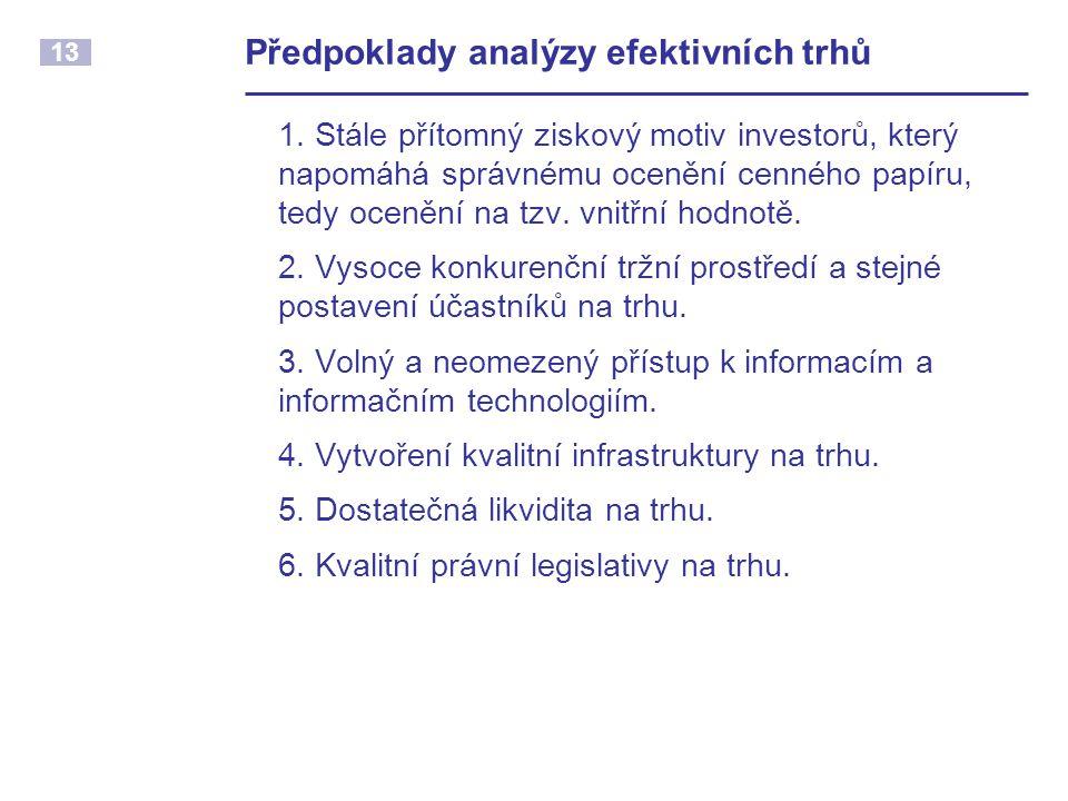 13 Předpoklady analýzy efektivních trhů 1.