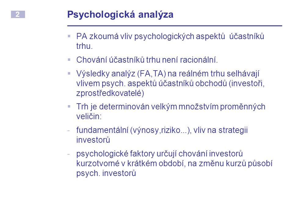 2 Psychologická analýza  PA zkoumá vliv psychologických aspektů účastníků trhu.