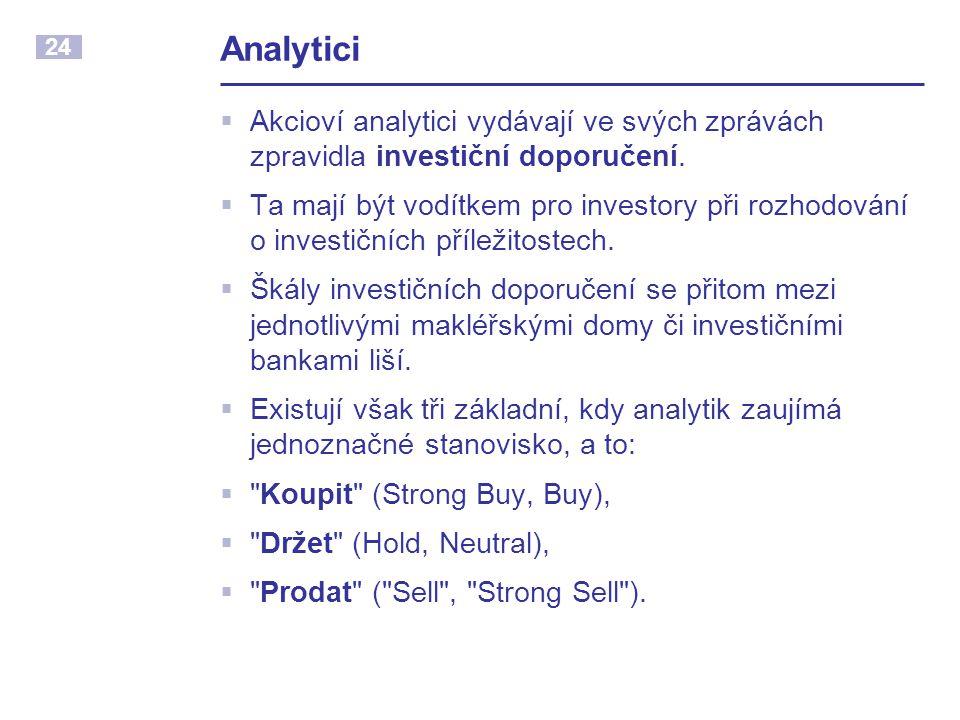 24 Analytici  Akcioví analytici vydávají ve svých zprávách zpravidla investiční doporučení.