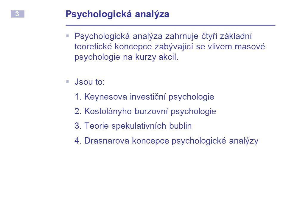 3 Psychologická analýza  Psychologická analýza zahrnuje čtyři základní teoretické koncepce zabývající se vlivem masové psychologie na kurzy akcií.