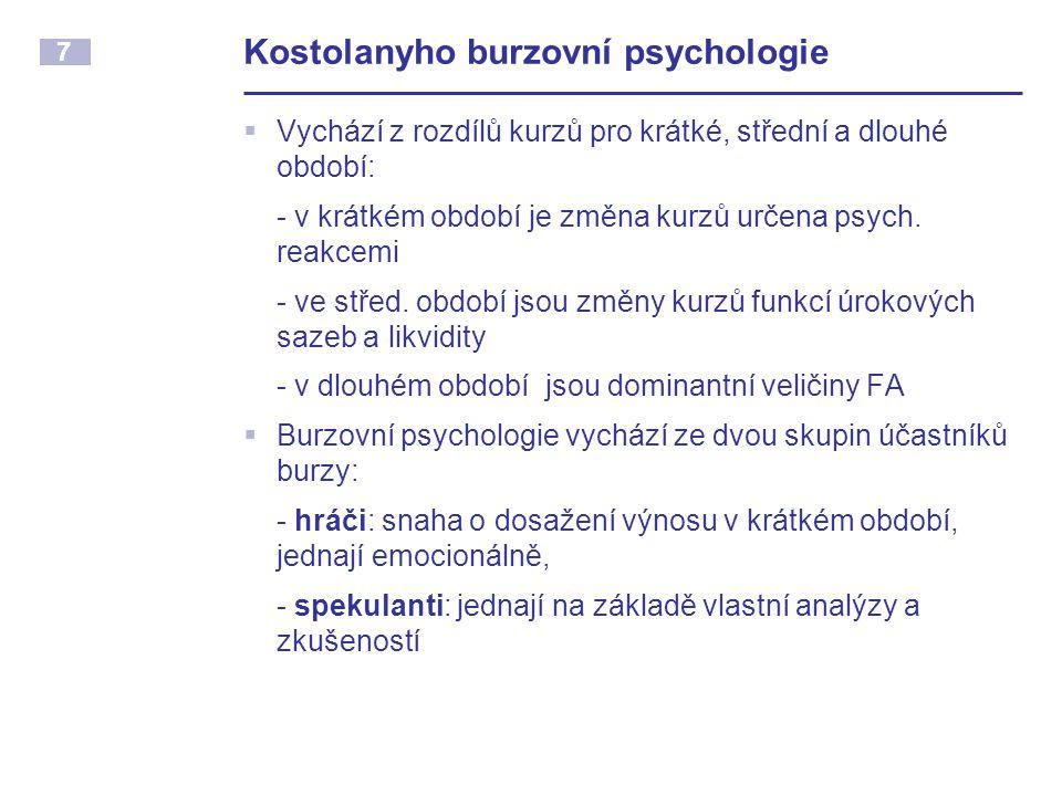 7 Kostolanyho burzovní psychologie  Vychází z rozdílů kurzů pro krátké, střední a dlouhé období: - v krátkém období je změna kurzů určena psych.