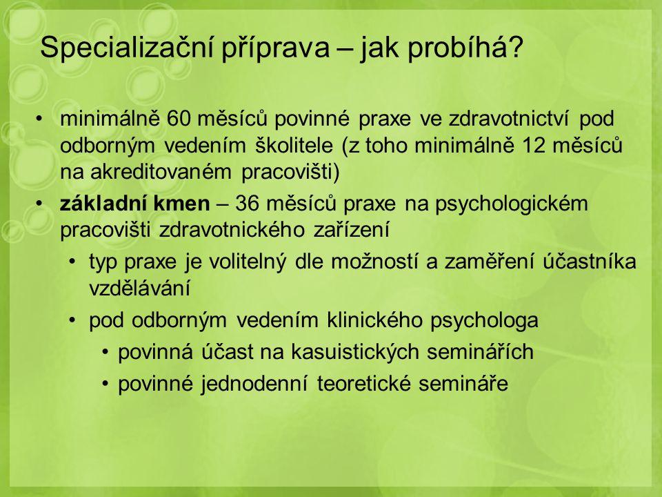 minimálně 60 měsíců povinné praxe ve zdravotnictví pod odborným vedením školitele (z toho minimálně 12 měsíců na akreditovaném pracovišti) základní km