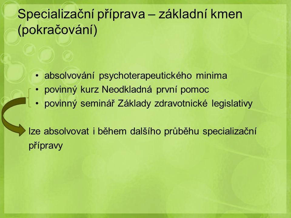 absolvování psychoterapeutického minima povinný kurz Neodkladná první pomoc povinný seminář Základy zdravotnické legislativy lze absolvovat i během da