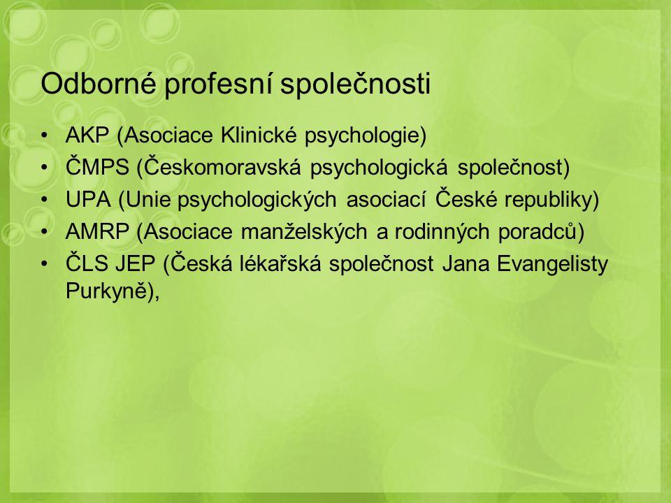 Odborné profesní společnosti AKP (Asociace Klinické psychologie) ČMPS (Českomoravská psychologická společnost) UPA (Unie psychologických asociací Česk