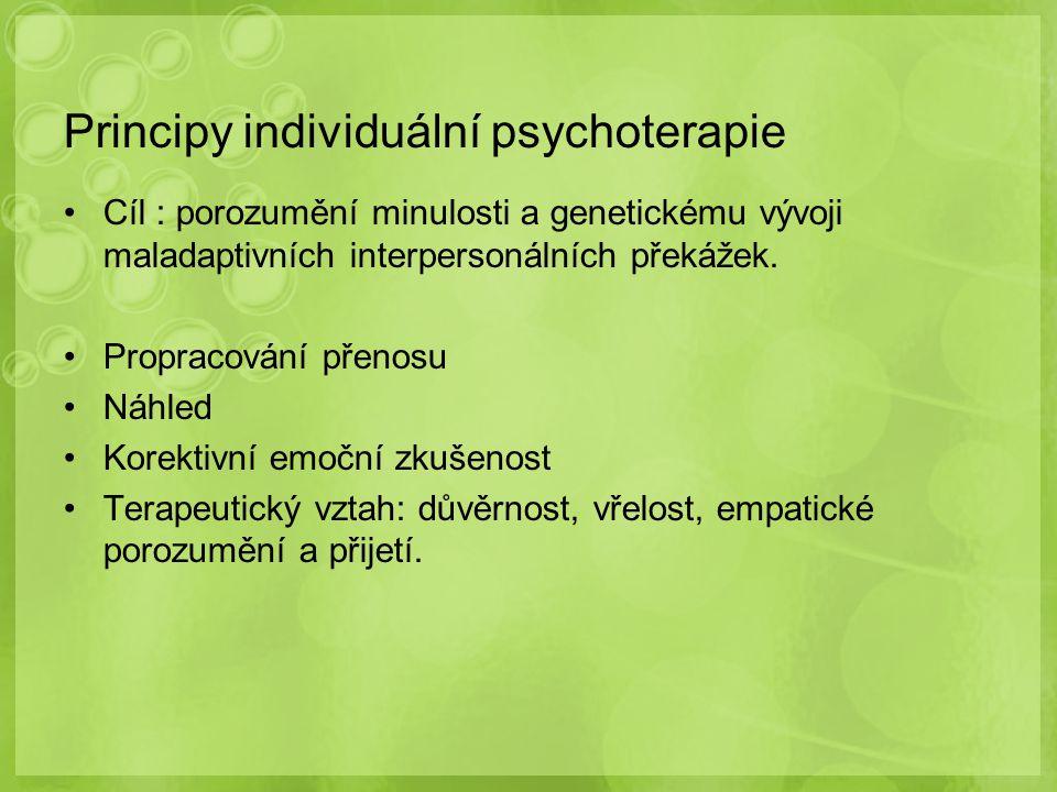 Principy individuální psychoterapie Cíl : porozumění minulosti a genetickému vývoji maladaptivních interpersonálních překážek. Propracování přenosu Ná
