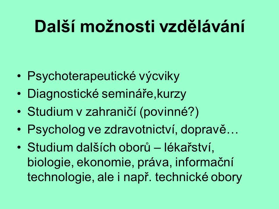 Další možnosti vzdělávání Psychoterapeutické výcviky Diagnostické semináře,kurzy Studium v zahraničí (povinné?) Psycholog ve zdravotnictví, dopravě… S