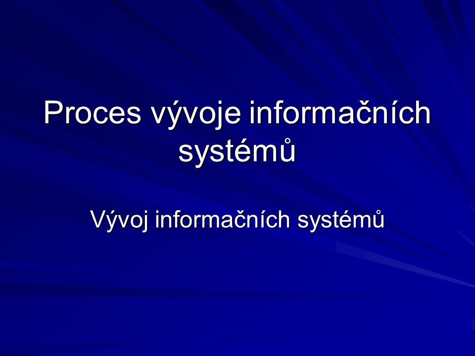 Proces vývoje informačních systémů Vývoj informačních systémů