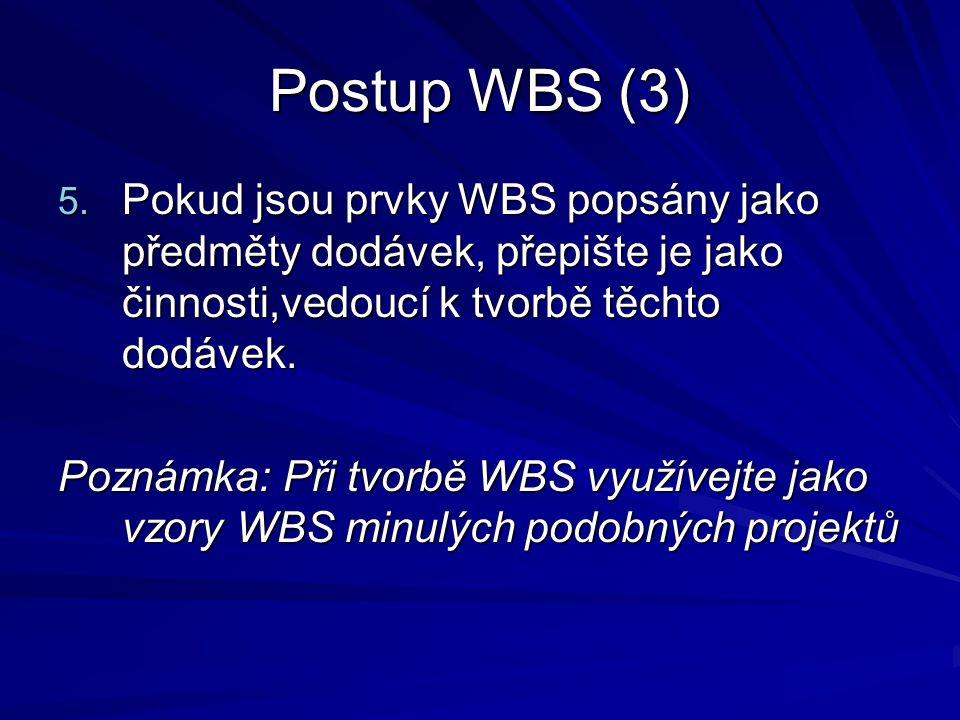 Postup WBS (3) 5. Pokud jsou prvky WBS popsány jako předměty dodávek, přepište je jako činnosti,vedoucí k tvorbě těchto dodávek. Poznámka: Při tvorbě