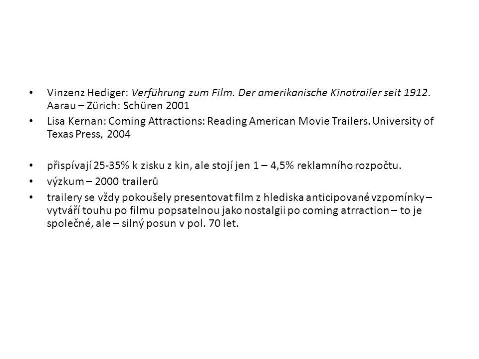 Vinzenz Hediger: Verführung zum Film. Der amerikanische Kinotrailer seit 1912. Aarau – Zürich: Schüren 2001 Lisa Kernan: Coming Attractions: Reading A