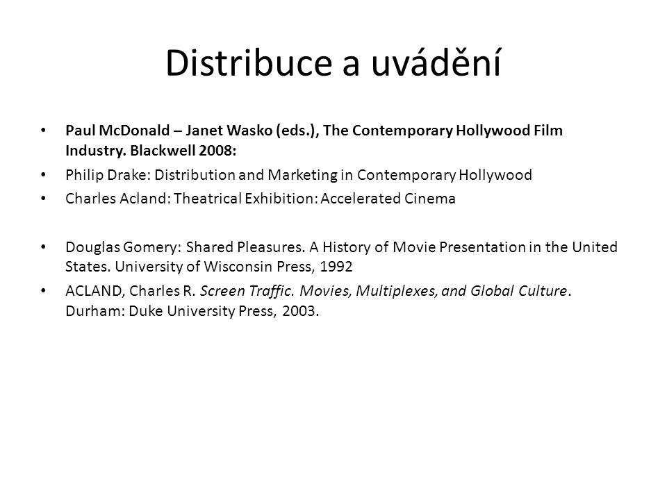 Distribuce a uvádění Paul McDonald – Janet Wasko (eds.), The Contemporary Hollywood Film Industry. Blackwell 2008: Philip Drake: Distribution and Mark