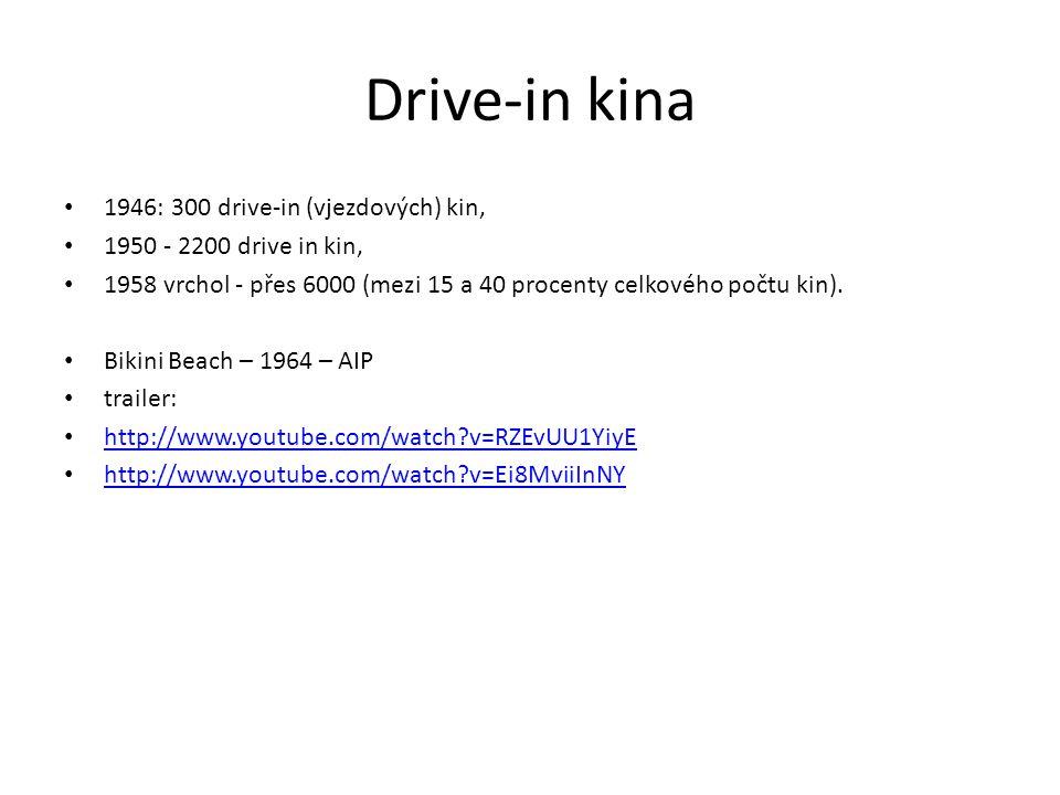 Drive-in kina 1946: 300 drive-in (vjezdových) kin, 1950 - 2200 drive in kin, 1958 vrchol - přes 6000 (mezi 15 a 40 procenty celkového počtu kin). Biki
