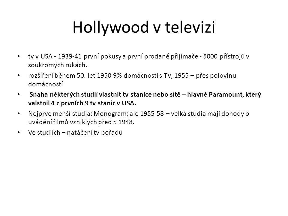 Hollywood v televizi tv v USA - 1939-41 první pokusy a první prodané přijímače - 5000 přístrojů v soukromých rukách. rozšíření během 50. let 1950 9% d