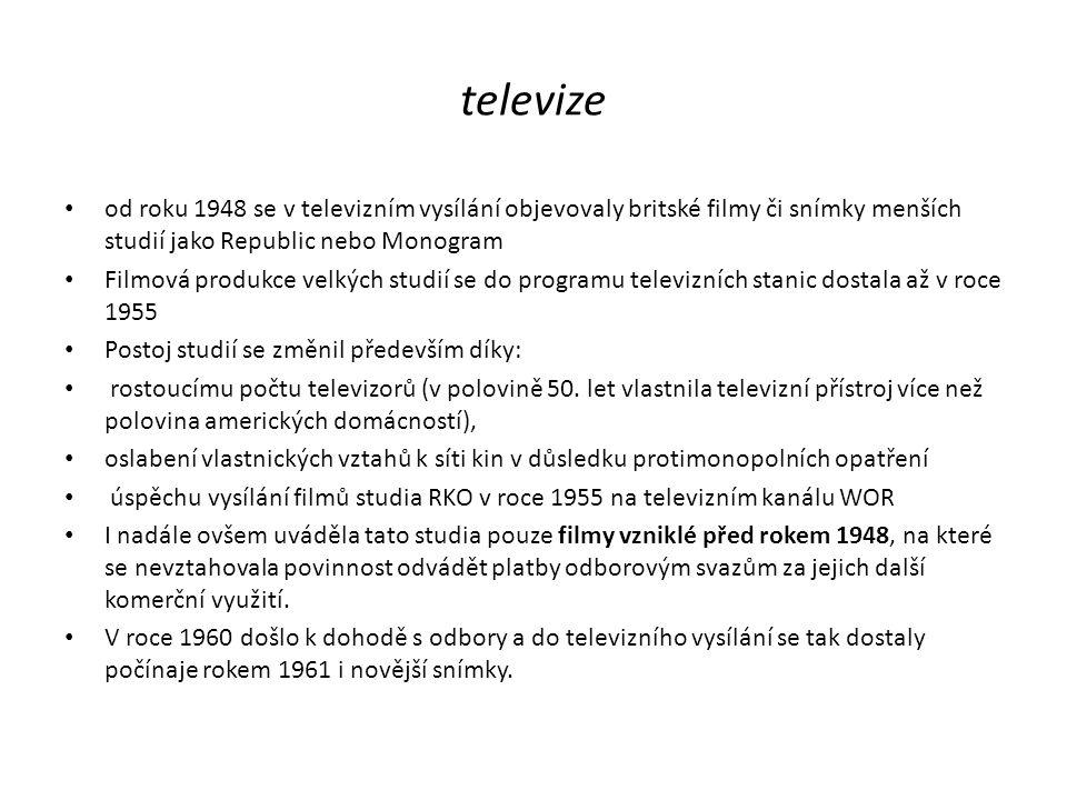 televize od roku 1948 se v televizním vysílání objevovaly britské filmy či snímky menších studií jako Republic nebo Monogram Filmová produkce velkých
