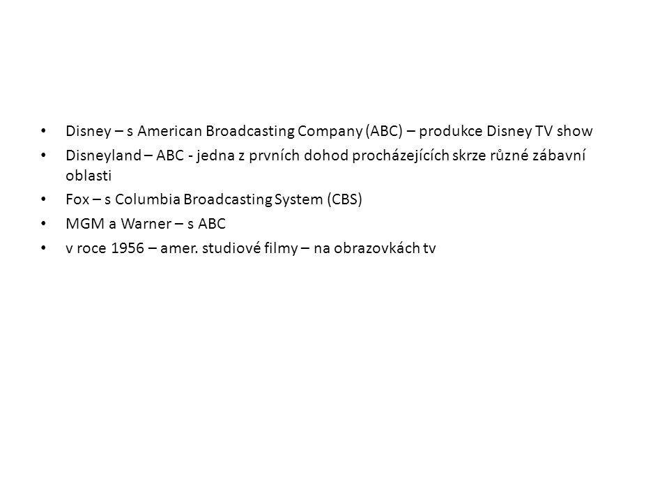 Disney – s American Broadcasting Company (ABC) – produkce Disney TV show Disneyland – ABC - jedna z prvních dohod procházejících skrze různé zábavní o