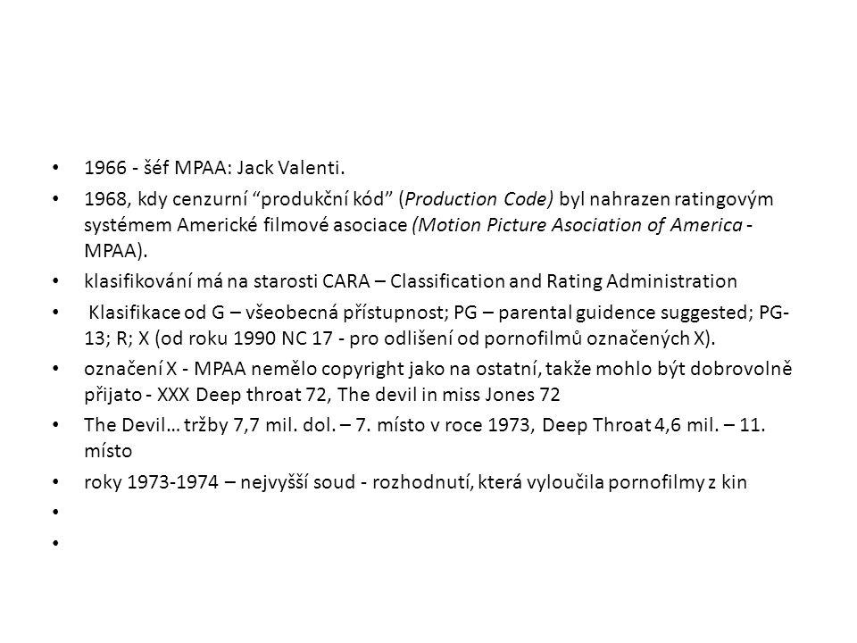 """1966 - šéf MPAA: Jack Valenti. 1968, kdy cenzurní """"produkční kód"""" (Production Code) byl nahrazen ratingovým systémem Americké filmové asociace (Motion"""