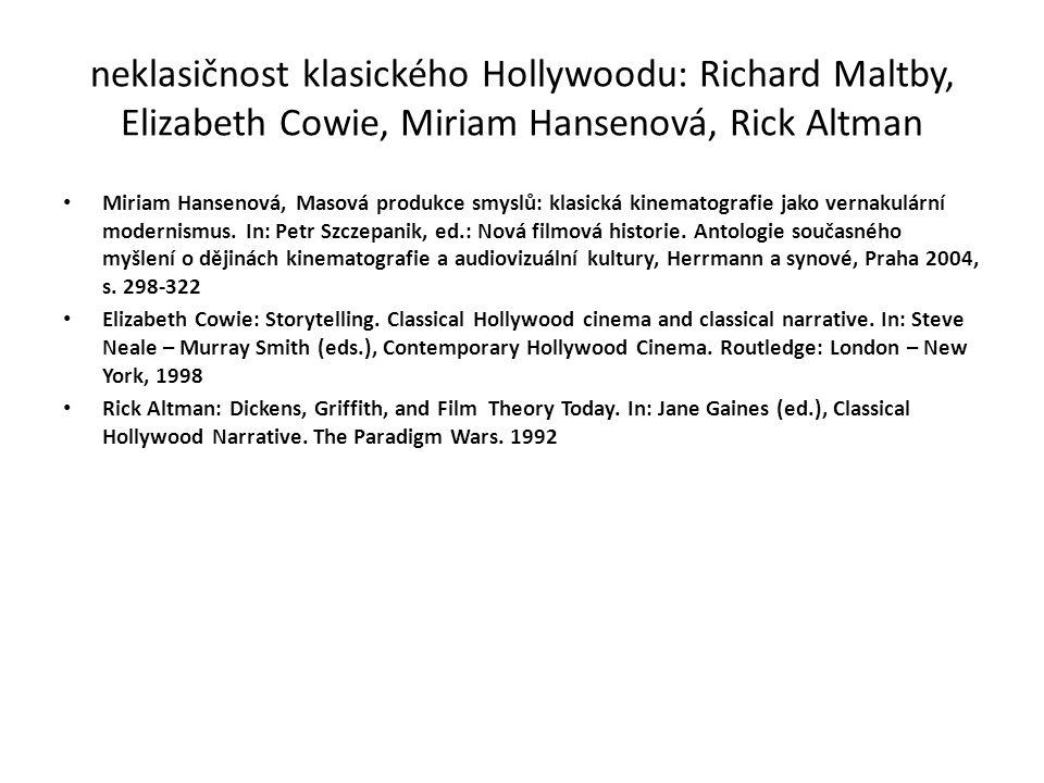 neklasičnost klasického Hollywoodu: Richard Maltby, Elizabeth Cowie, Miriam Hansenová, Rick Altman Miriam Hansenová, Masová produkce smyslů: klasická