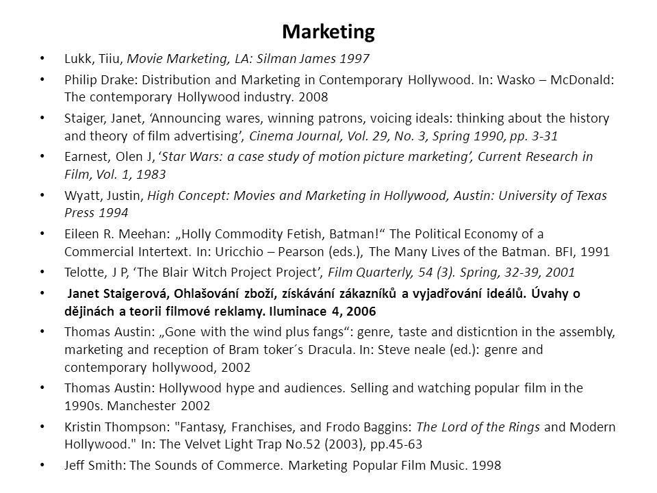 Lukk, Tiiu, Movie Marketing, LA: Silman James 1997 Philip Drake: Distribution and Marketing in Contemporary Hollywood. In: Wasko – McDonald: The conte