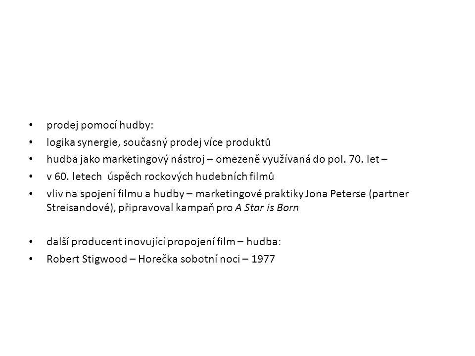 prodej pomocí hudby: logika synergie, současný prodej více produktů hudba jako marketingový nástroj – omezeně využívaná do pol. 70. let – v 60. letech