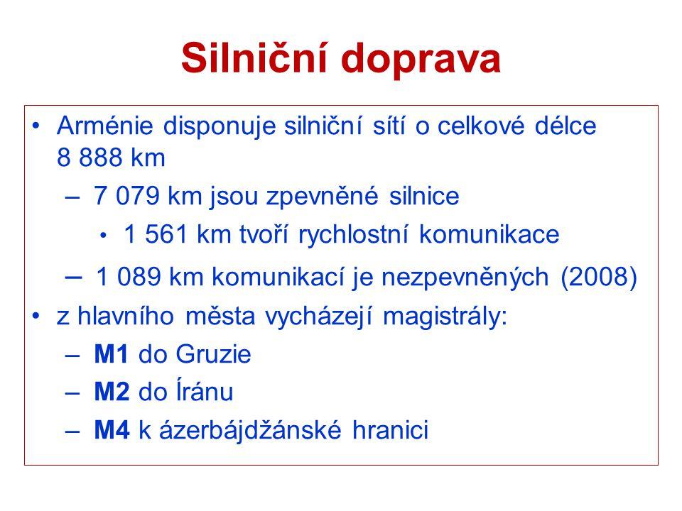 Silniční doprava Arménie disponuje silniční sítí o celkové délce 8 888 km – 7 079 km jsou zpevněné silnice 1 561 km tvoří rychlostní komunikace – 1 08