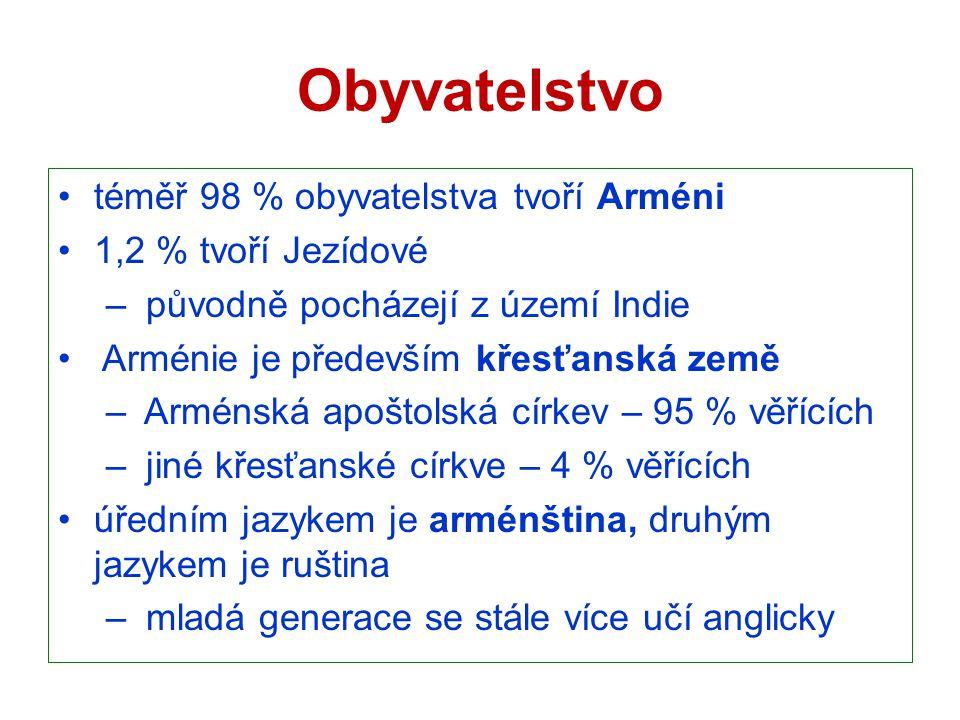 Obyvatelstvo téměř 98 % obyvatelstva tvoří Arméni 1,2 % tvoří Jezídové – původně pocházejí z území Indie Arménie je především křesťanská země – Arméns