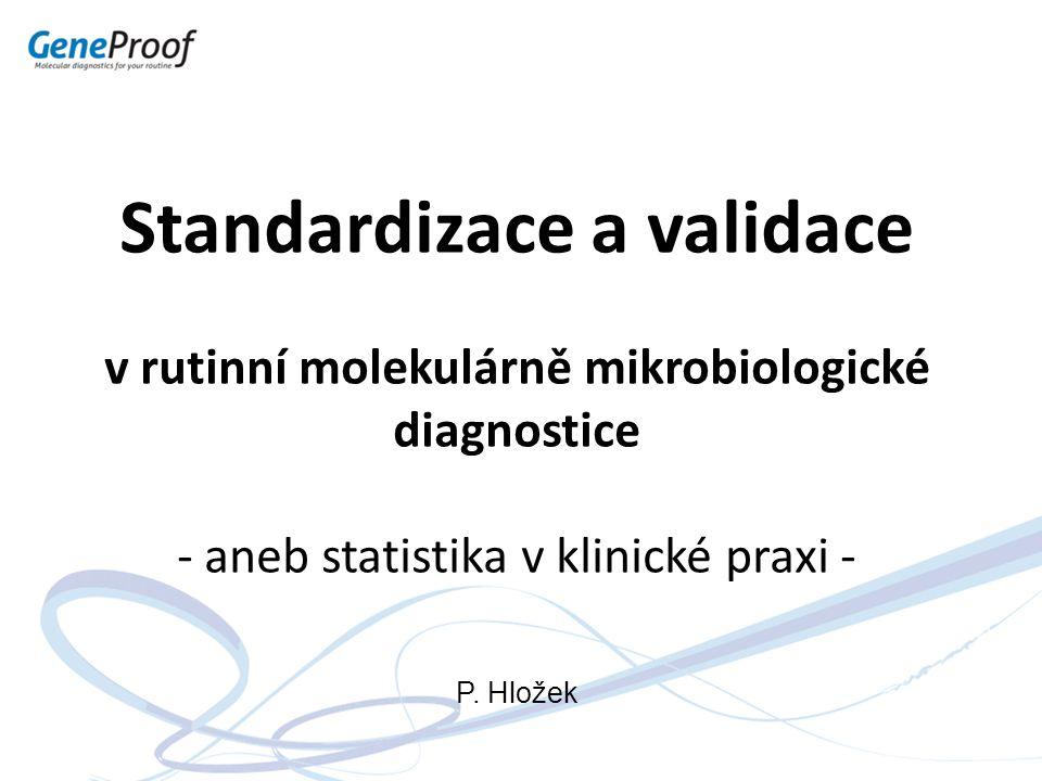 Specifita/limit detekce - příklad Přesnost a správnost Specifita Limit detekce Limit kvantitativního stanovení Lineární rozsah měření Stojí před námi vyšetření 100 pacientů s podezřením na nákazu velice nebezpečným patogenem:  Inkubační doba - 24 hod.