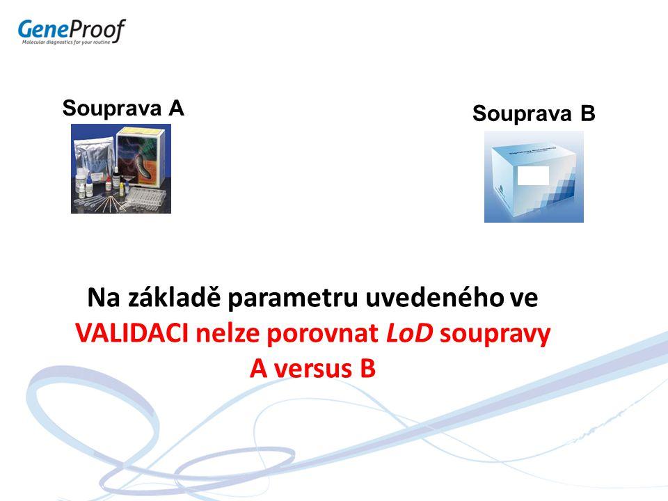 Souprava A Souprava B Na základě parametru uvedeného ve VALIDACI nelze porovnat LoD soupravy A versus B