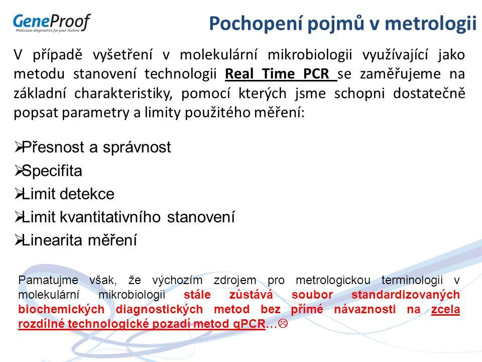 V případě vyšetření v molekulární mikrobiologii využívající jako metodu stanovení technologii Real Time PCR se zaměřujeme na základní charakteristiky,