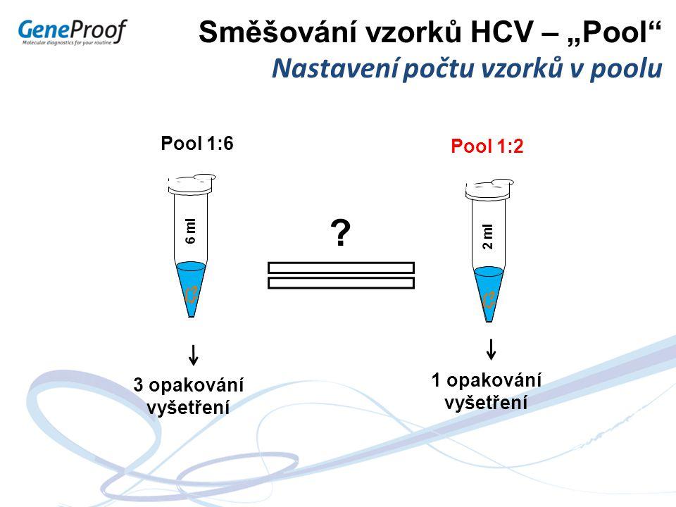 """Směšování vzorků HCV – """"Pool"""" Nastavení počtu vzorků v poolu 1 opakování vyšetření 3 opakování vyšetření 2 ml Pool 1:2 6 ml Pool 1:6 ?"""