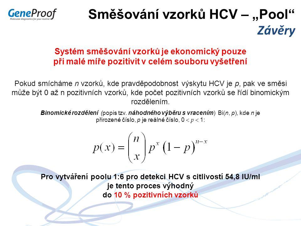 """Směšování vzorků HCV – """"Pool"""" Závěry Systém směšování vzorků je ekonomický pouze při malé míře pozitivit v celém souboru vyšetření Binomické rozdělení"""