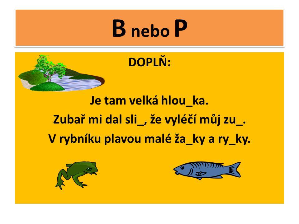 B nebo P DOPLŇ: Je tam velká hlou_ka.Zubař mi dal sli_, že vyléčí můj zu_.