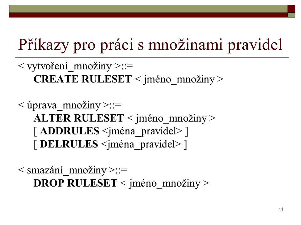 14 Příkazy pro práci s množinami pravidel ::= CREATE RULESET ::= ALTER RULESET [ ADDRULES ] [ DELRULES ] ::= DROP RULESET