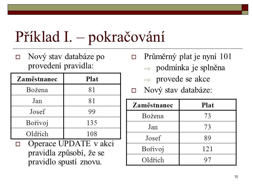 16 Příklad I. – pokračování  Nový stav databáze po provedení pravidla:  Operace UPDATE v akci pravidla způsobí, že se pravidlo spustí znovu.  Průmě