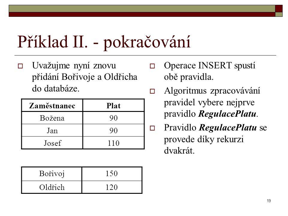19 Příklad II. - pokračování  Uvažujme nyní znovu přidání Bořivoje a Oldřicha do databáze.  Operace INSERT spustí obě pravidla.  Algoritmus zpracov