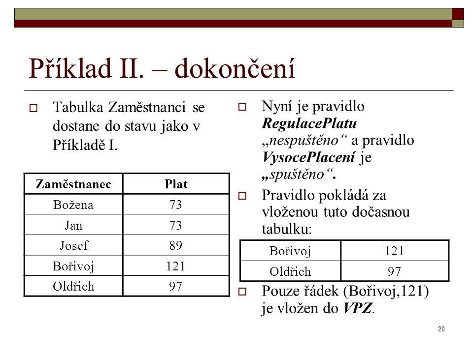 """20 Příklad II. – dokončení  Tabulka Zaměstnanci se dostane do stavu jako v Příkladě I.  Nyní je pravidlo RegulacePlatu """"nespuštěno"""" a pravidlo Vysoc"""