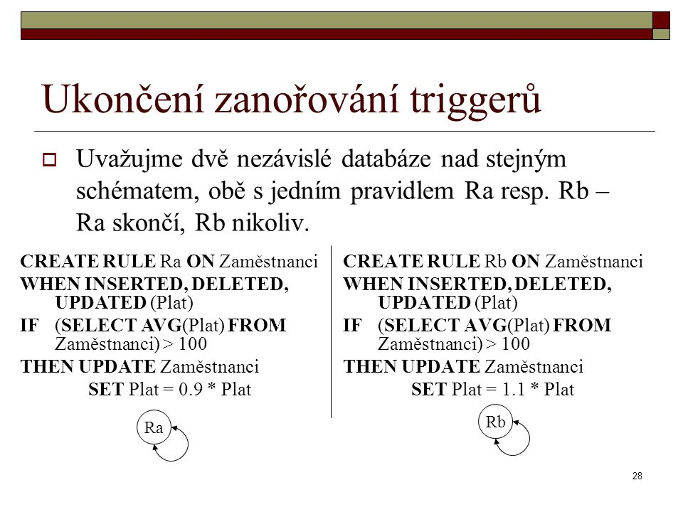28 Ukončení zanořování triggerů  Uvažujme dvě nezávislé databáze nad stejným schématem, obě s jedním pravidlem Ra resp. Rb – Ra skončí, Rb nikoliv. C