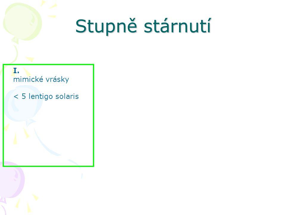 I. mimické vrásky < 5 lentigo solaris Stupně stárnutí