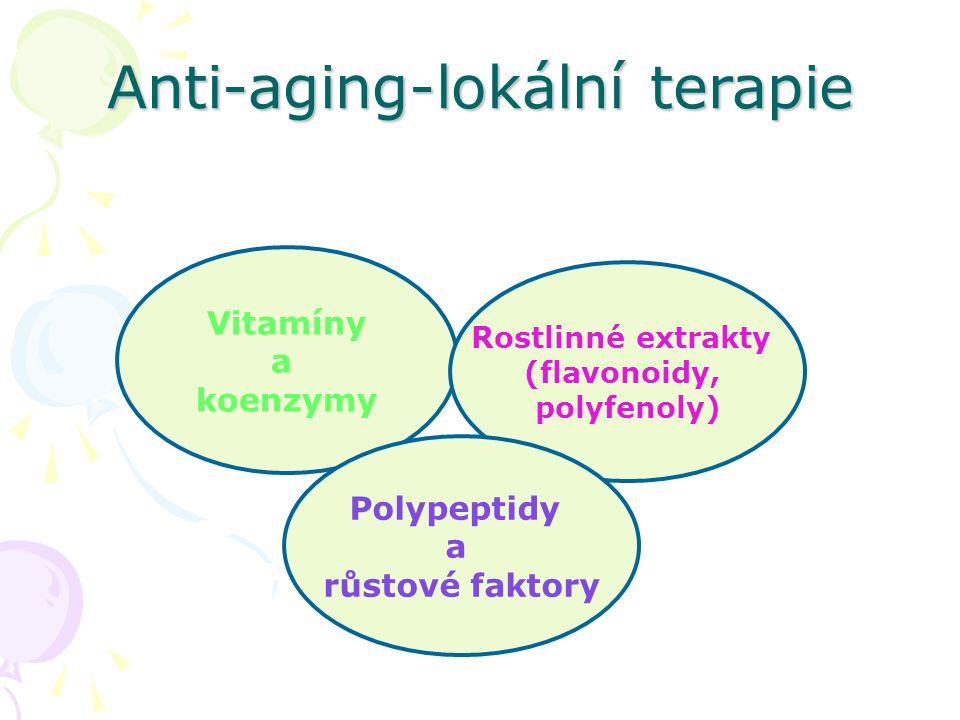 Anti-aging-lokální terapie Vitamíny a koenzymy Rostlinné extrakty (flavonoidy, polyfenoly) Polypeptidy a růstové faktory