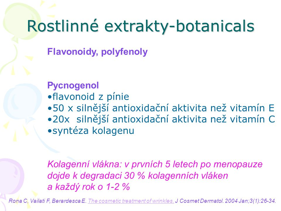 Rostlinné extrakty-botanicals Flavonoidy, polyfenoly Pycnogenol flavonoid z pínie 50 x silnější antioxidační aktivita než vitamín E 20x silnější antio