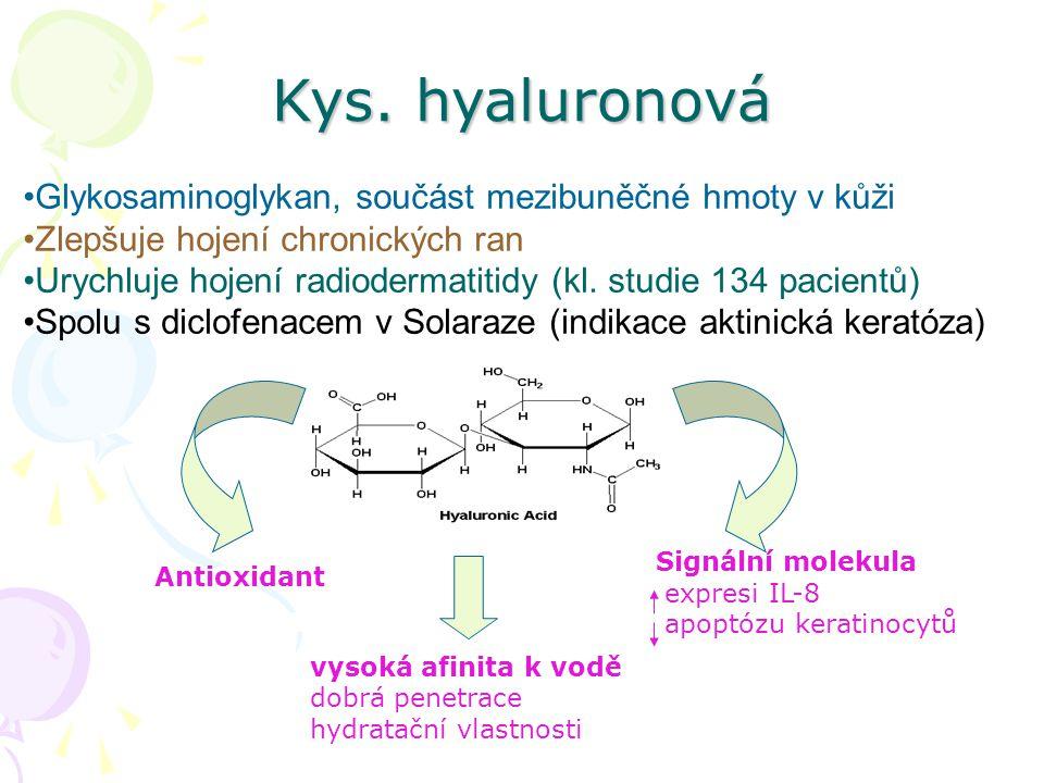 Kys. hyaluronová Glykosaminoglykan, součást mezibuněčné hmoty v kůži Zlepšuje hojení chronických ran Urychluje hojení radiodermatitidy (kl. studie 134