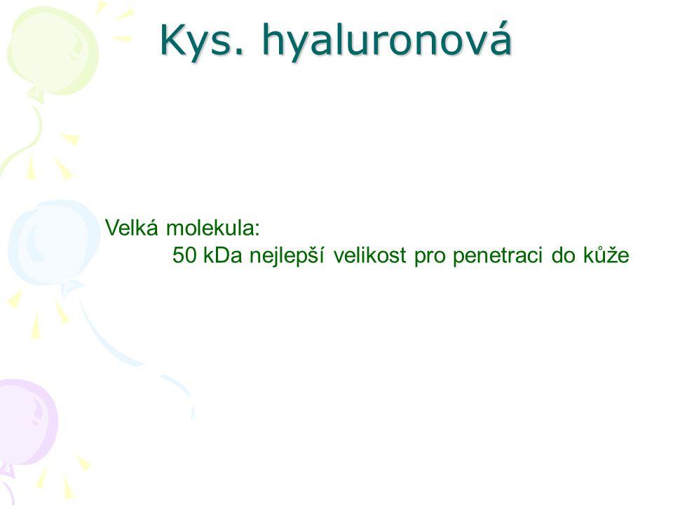 Velká molekula: 50 kDa nejlepší velikost pro penetraci do kůže Kys. hyaluronová