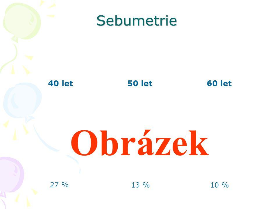 40 let 60 let 50 let 27 % 10 %13 % Sebumetrie Obrázek
