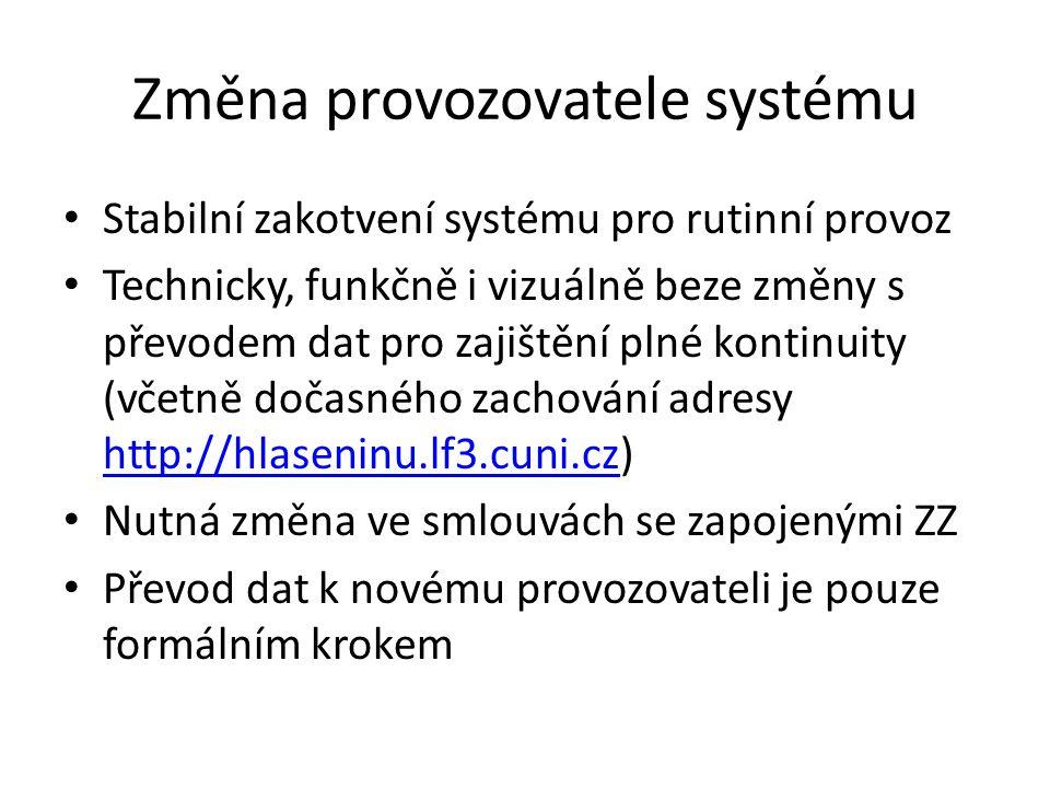 Změna provozovatele systému Stabilní zakotvení systému pro rutinní provoz Technicky, funkčně i vizuálně beze změny s převodem dat pro zajištění plné kontinuity (včetně dočasného zachování adresy http://hlaseninu.lf3.cuni.cz) http://hlaseninu.lf3.cuni.cz Nutná změna ve smlouvách se zapojenými ZZ Převod dat k novému provozovateli je pouze formálním krokem