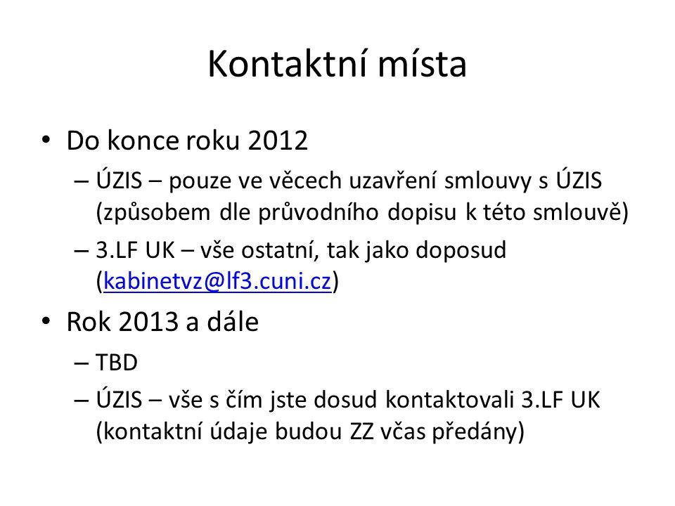 Kontaktní místa Do konce roku 2012 – ÚZIS – pouze ve věcech uzavření smlouvy s ÚZIS (způsobem dle průvodního dopisu k této smlouvě) – 3.LF UK – vše ostatní, tak jako doposud (kabinetvz@lf3.cuni.cz)kabinetvz@lf3.cuni.cz Rok 2013 a dále – TBD – ÚZIS – vše s čím jste dosud kontaktovali 3.LF UK (kontaktní údaje budou ZZ včas předány)