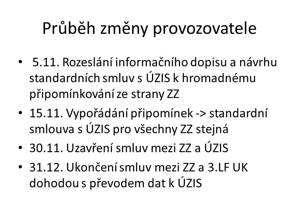 Průběh změny provozovatele 5.11. Rozeslání informačního dopisu a návrhu standardních smluv s ÚZIS k hromadnému připomínkování ze strany ZZ 15.11. Vypo