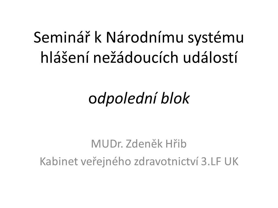 Seminář k Národnímu systému hlášení nežádoucích událostí odpolední blok MUDr.