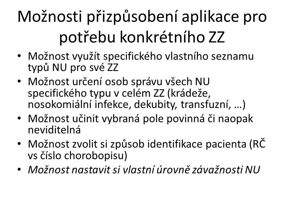 Možnosti přizpůsobení aplikace pro potřebu konkrétního ZZ Možnost využít specifického vlastního seznamu typů NU pro své ZZ Možnost určení osob správu všech NU specifického typu v celém ZZ (krádeže, nosokomiální infekce, dekubity, transfuzní, …) Možnost učinit vybraná pole povinná či naopak neviditelná Možnost zvolit si způsob identifikace pacienta (RČ vs číslo chorobopisu) Možnost nastavit si vlastní úrovně závažnosti NU