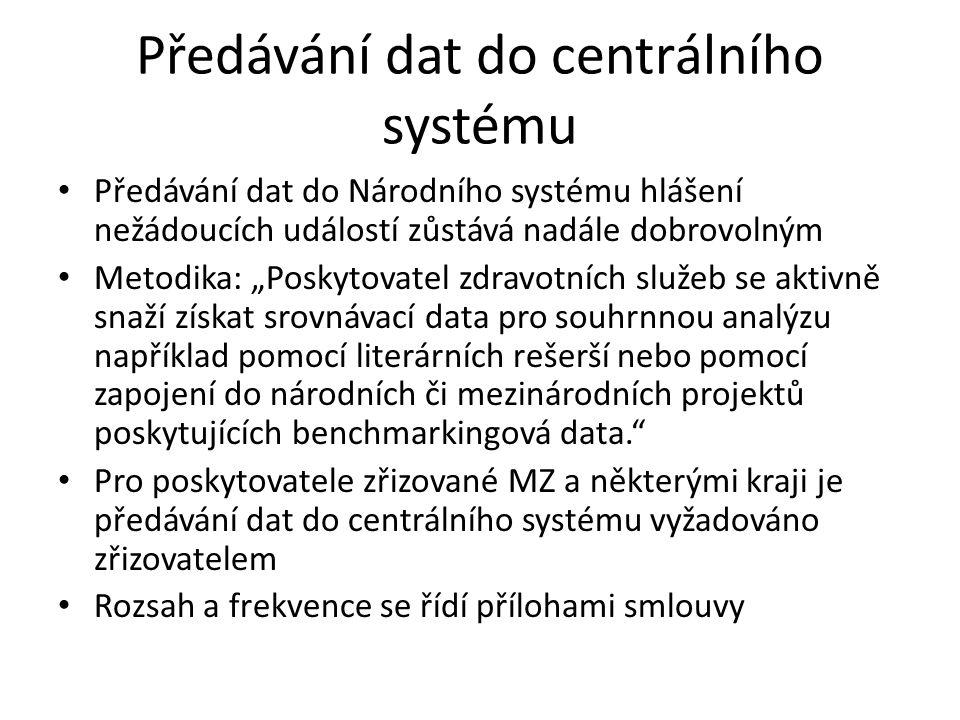 """Předávání dat do centrálního systému Předávání dat do Národního systému hlášení nežádoucích událostí zůstává nadále dobrovolným Metodika: """"Poskytovate"""