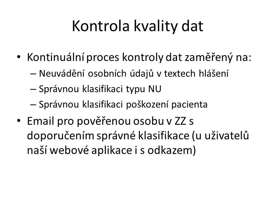 Kontrola kvality dat Kontinuální proces kontroly dat zaměřený na: – Neuvádění osobních údajů v textech hlášení – Správnou klasifikaci typu NU – Správn