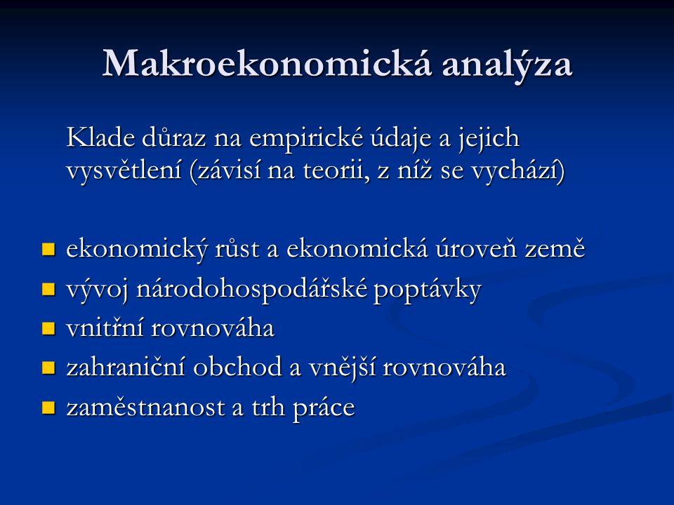 Makroekonomická analýza Klade důraz na empirické údaje a jejich vysvětlení (závisí na teorii, z níž se vychází) ekonomický růst a ekonomická úroveň ze